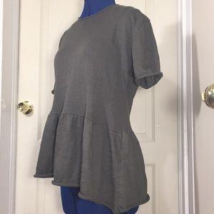 Zara soft knit ruffled short sleeve Tee